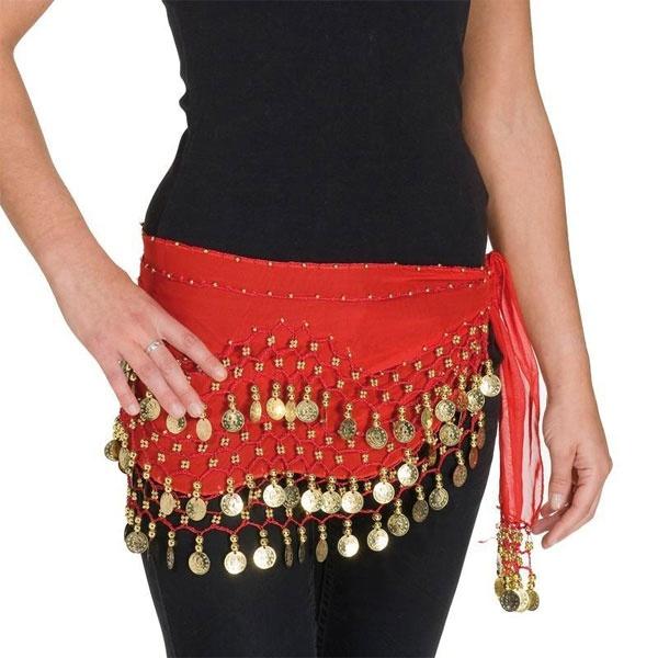 Kostüm-Zubehör Hüfttuch mit Münzen rot