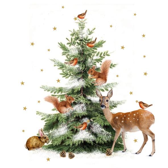 Servietten Weihnachten Tiere im Winter