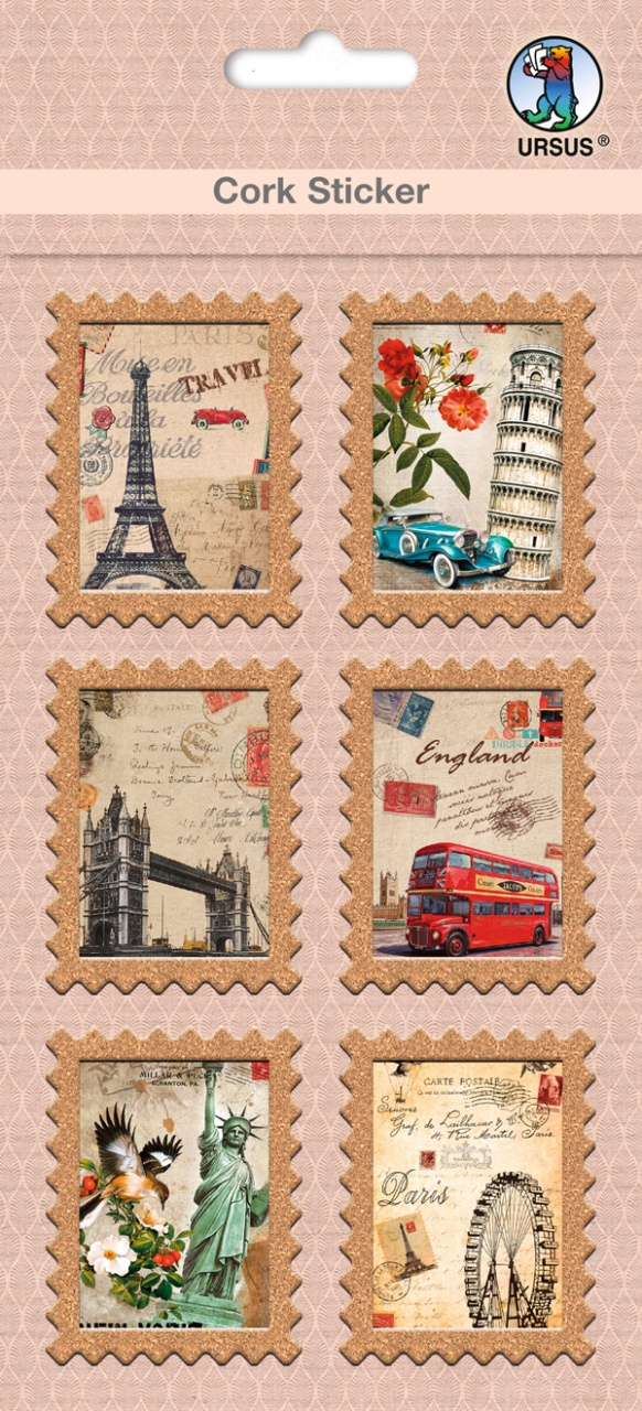 Cork Sticker  Briefmarke City Tour