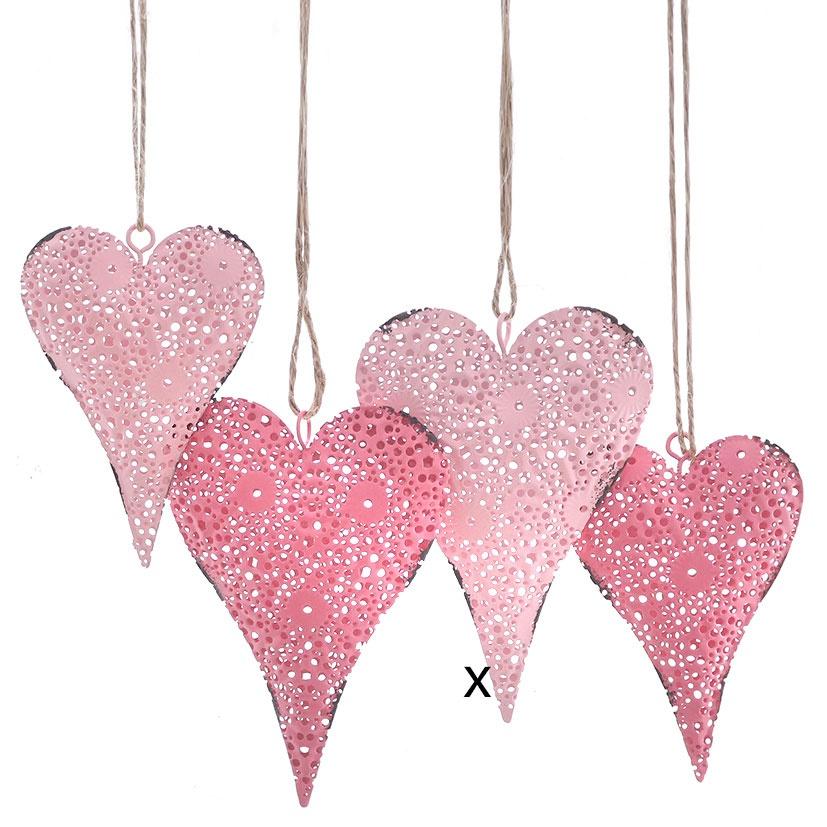 Deko-Anhänger Herzform rosa 12 cm Herz Hochzeitsdekoration