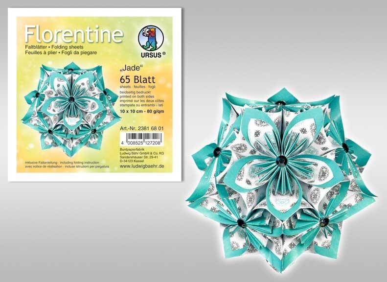 Faltblätter Florentine Jade 15x15 cm
