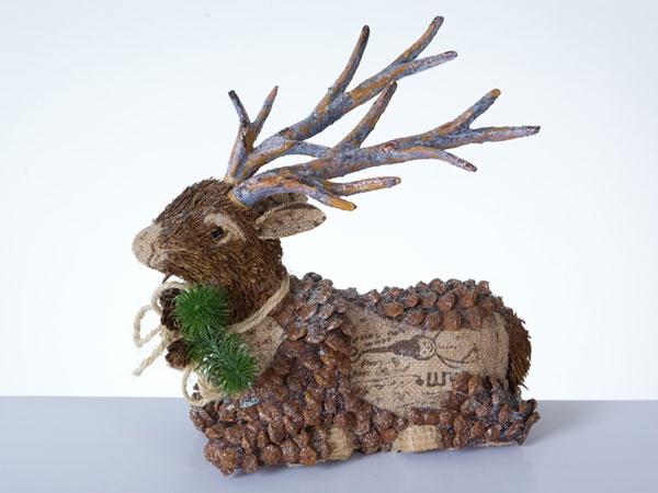Dekofigur Liegender Hirsch natur 27 cm