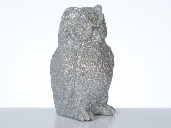 Dekofigur Eule silber 16,5 cm