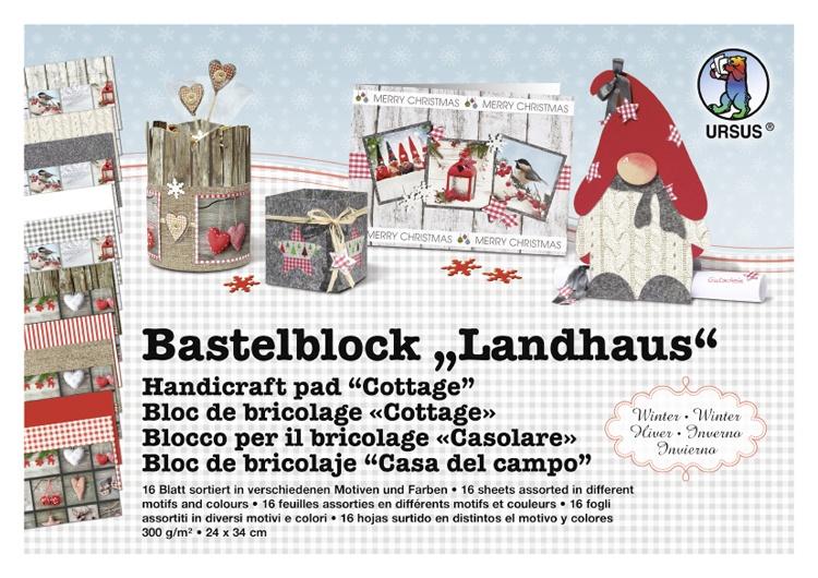 Bastelblock Landhaus Winter