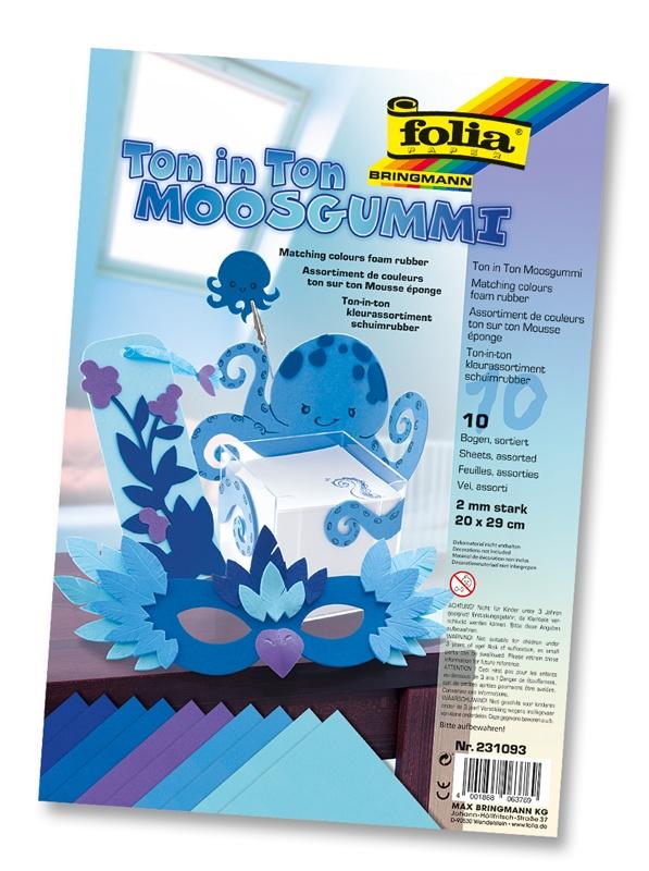 Folia Moosgummi Ton in Ton Mix blau