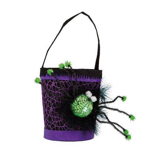 Kostüm-Zubehör Trick or Treat Eimerchen mit LED Spinne lila