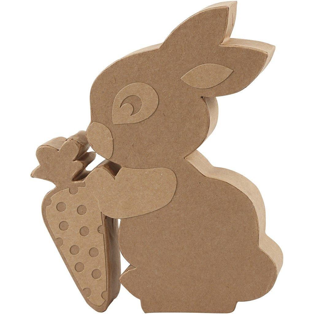 Pappmachè Figur Kaninchen mit Möhre