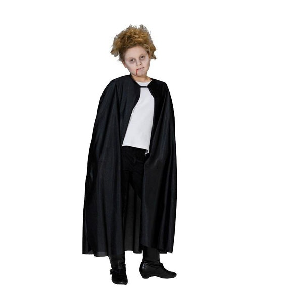 Kostüm Umhang lang schwarz 128
