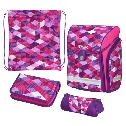 Herlitz Schulranzen Midi Plus Pink Cubes