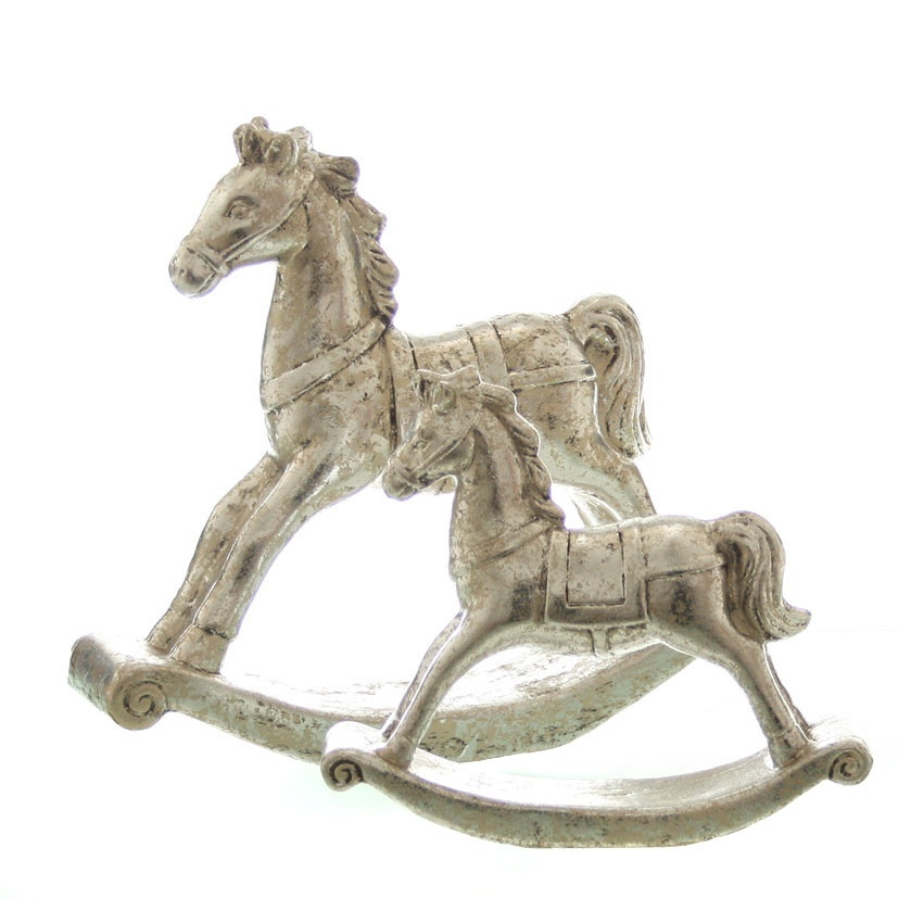 Schaukelpferd aus Keramik silber-antik 27 cm