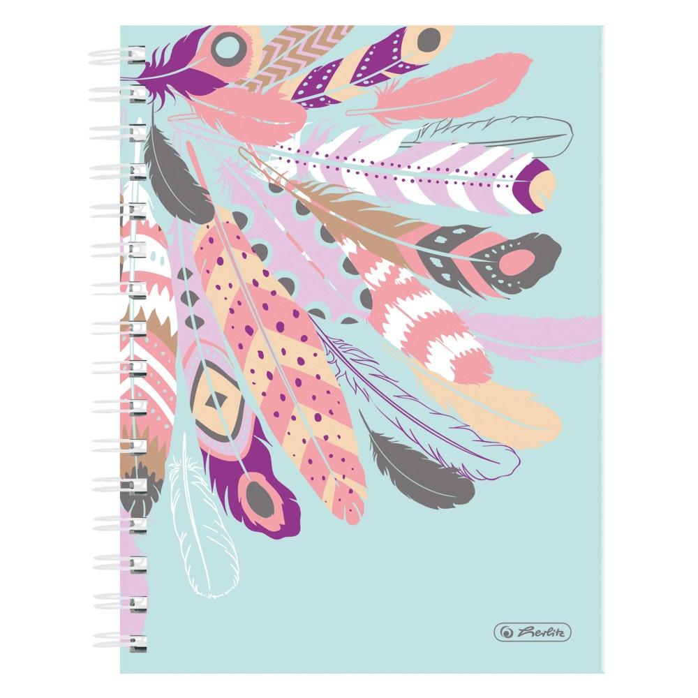 Spiral-Boutiquebuch A5 kariert Feathers