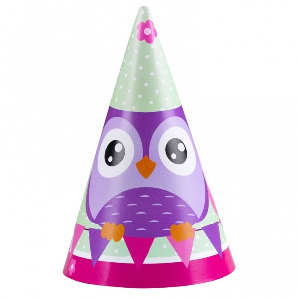 Partyhütchen Happy Owl  Eule 8 Stück