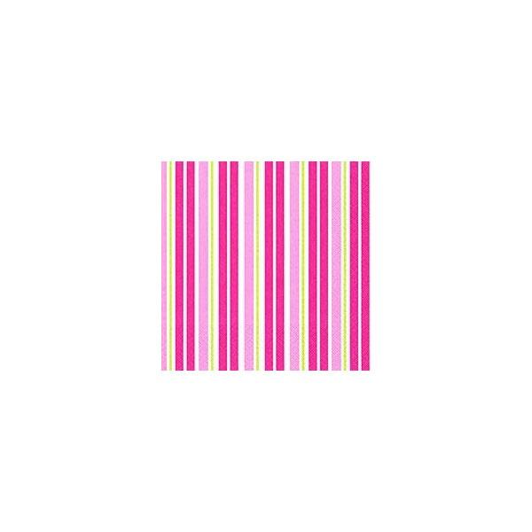 Servietten Rayas pink lime gestreift 33x33