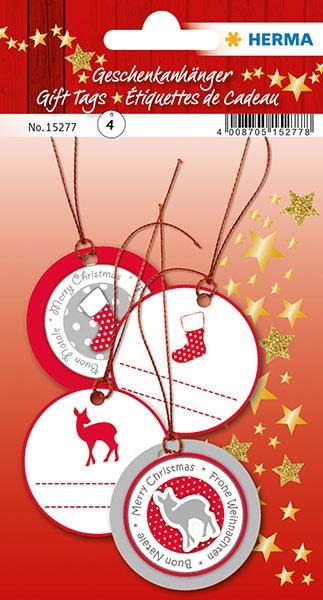 Herma Geschenkanhänger Weihnachten rot/silber