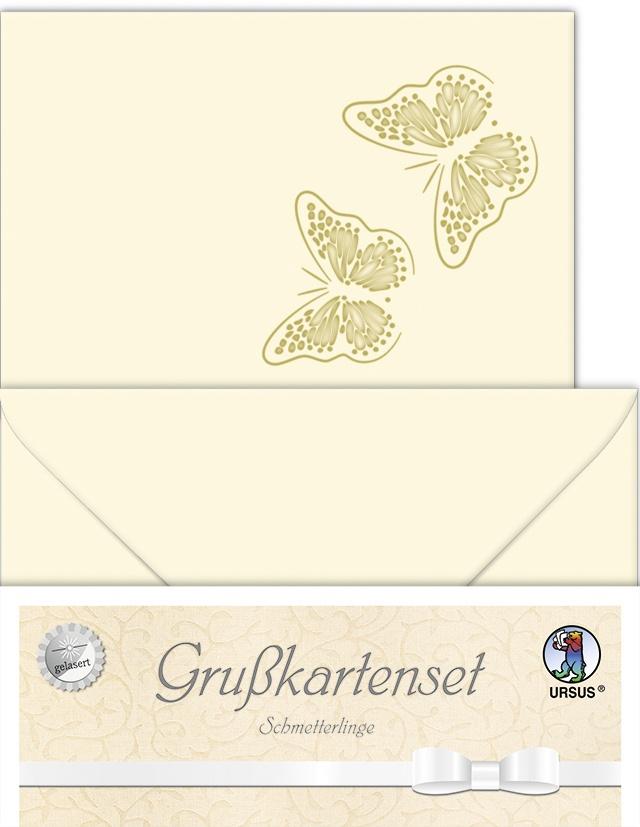 Grußkartenset Schmetterlinge Doppelkarten und Umschläge