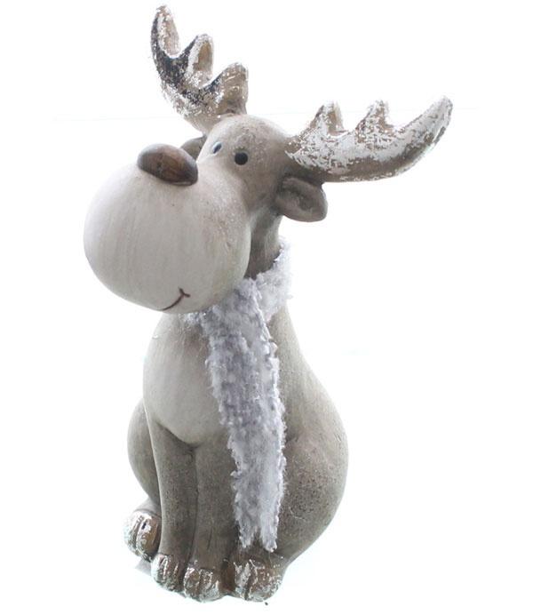 Dekofigur Elch aus Keramik mit Schal 16 cm