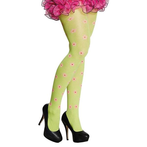 Kostüm-Zubehör Hippie Strumpfhose Blume