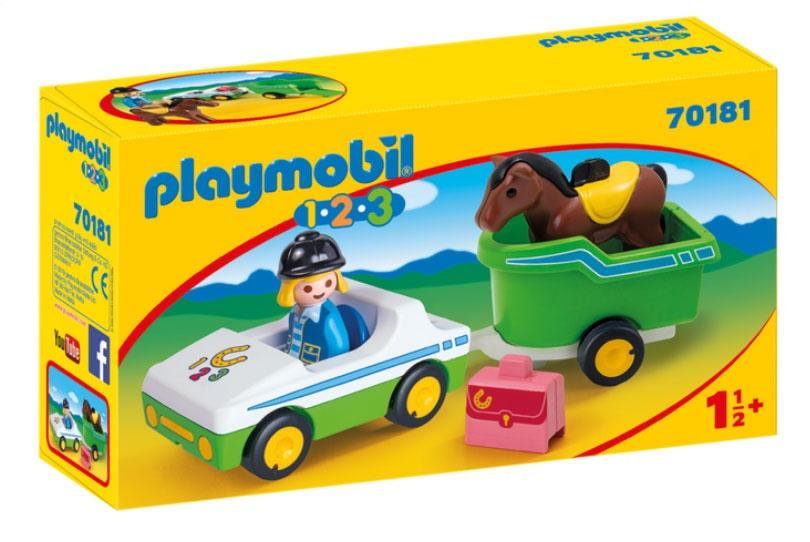 Playmobil 70181 1.2.3 PKW mit Pferdeanhänger