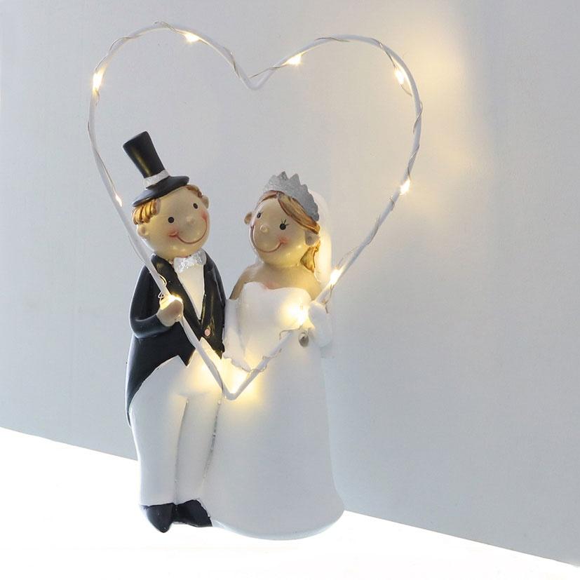 Deko-Hochzeitspaar stehend mit LED-Herz schwarz/weiß