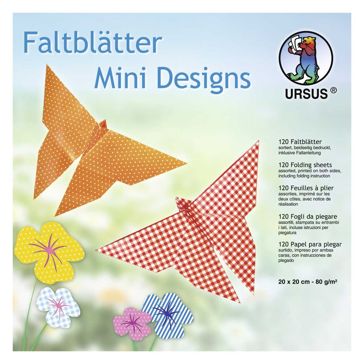 Faltblätter Mini Design 20 x 20 cm