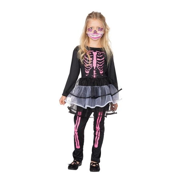Kostüm Skelett Kleidchen mit Leggins 104
