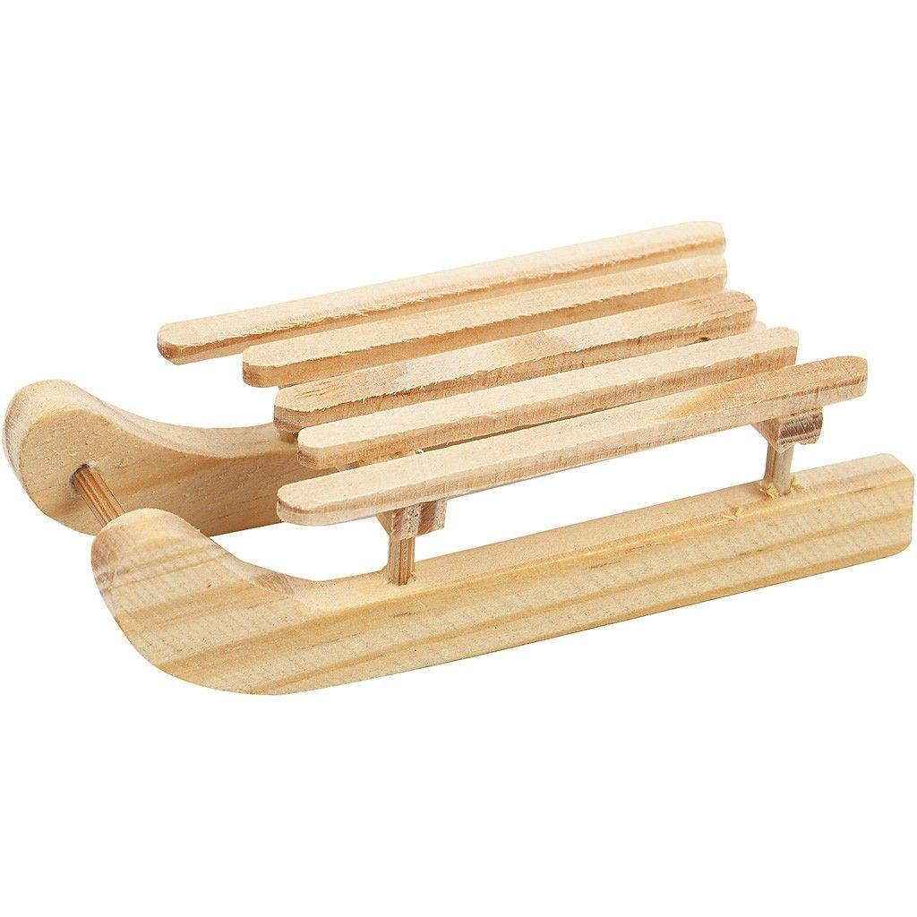 Deko-Holzschlitten 6,5 x 2,5 cm 2 Stück