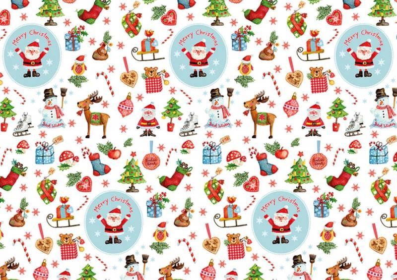 Geschenkpapier Weihnachten Merry Season weiss 200 x 70 cm