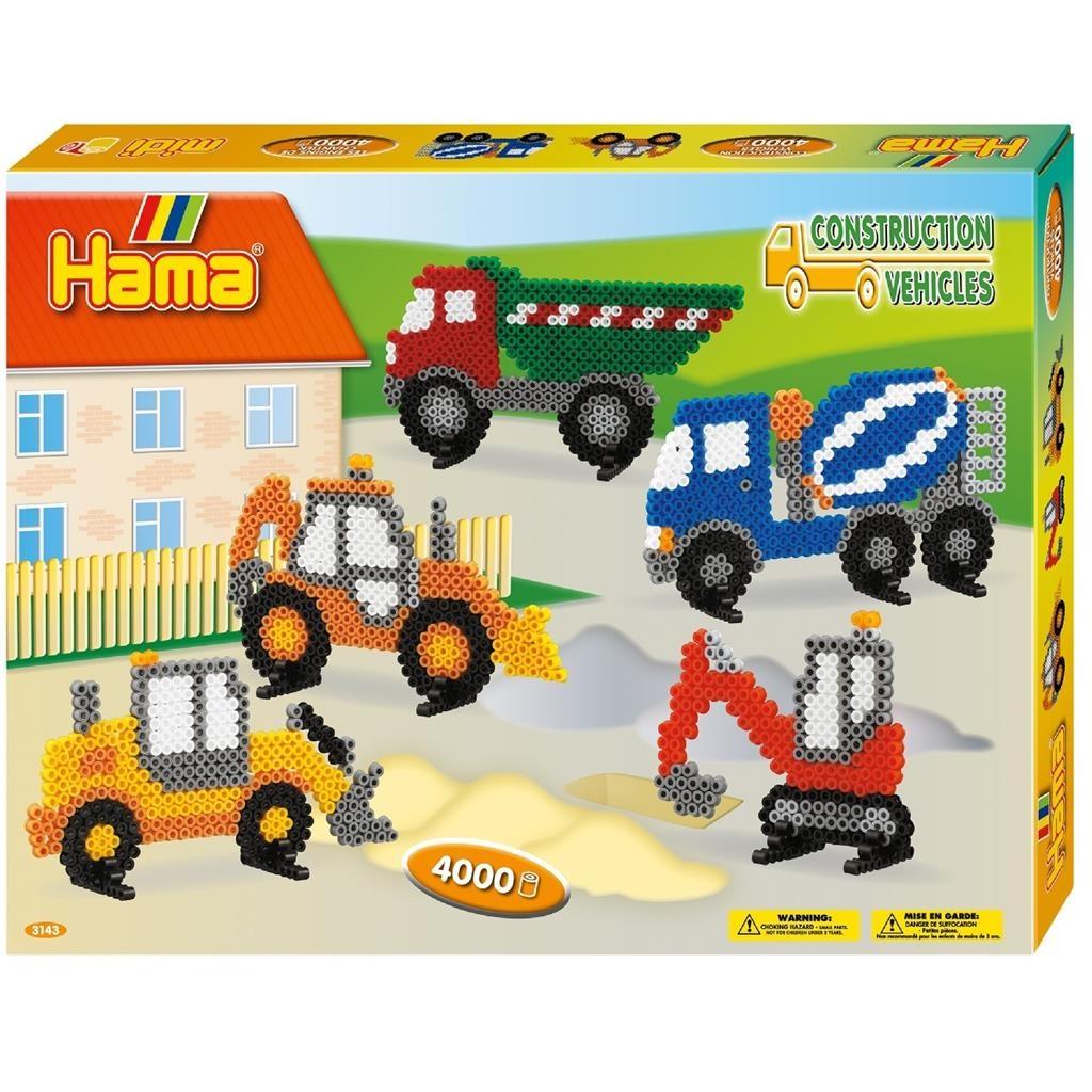 Hama Bügelperlen-Set Baufahrzeuge 4000
