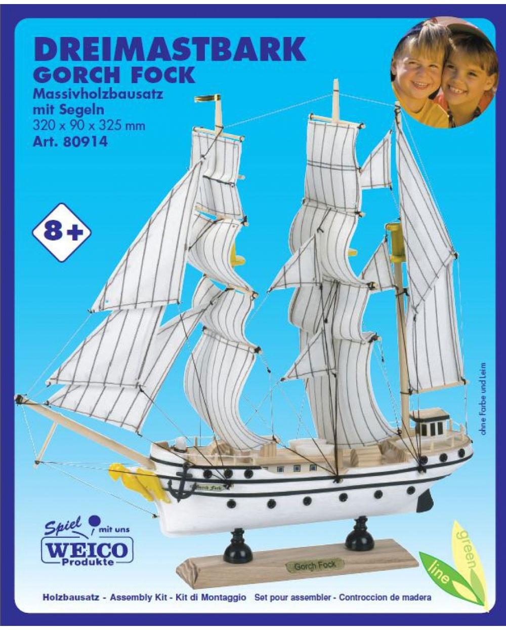 Holzbausatz Dreimastbark Gorch Fock Massivholz 320x90x325mm