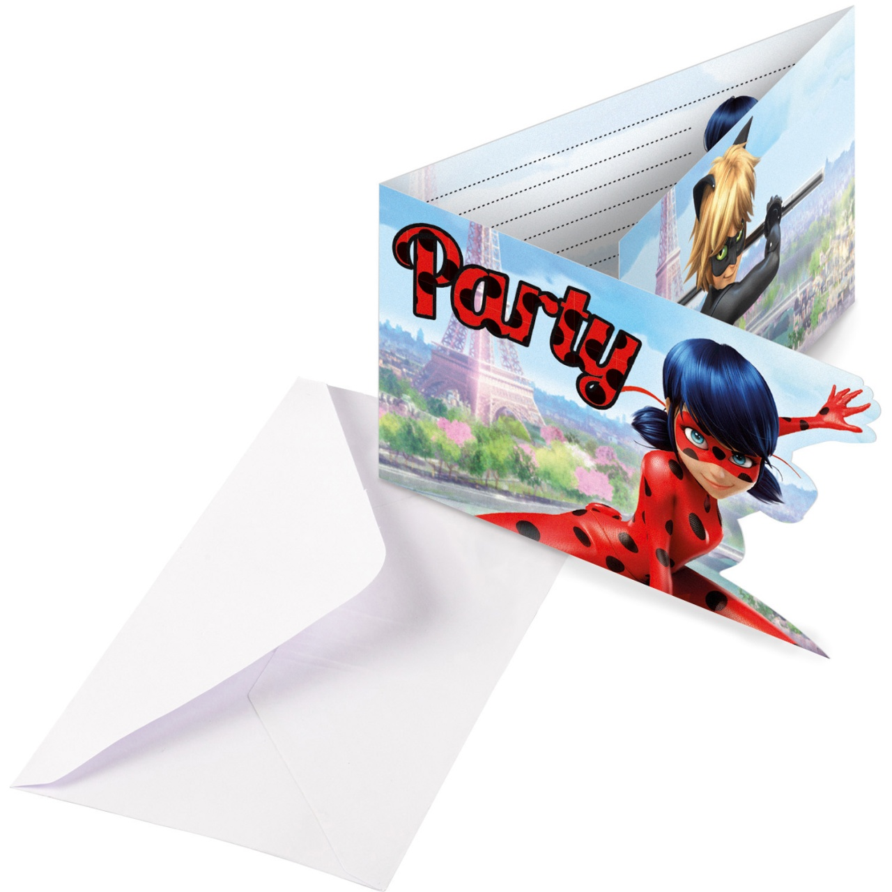 Party-Einladungskarten Miraculous 8 Stück mit Umschlag