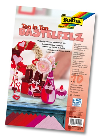Folia Bastelfilz Ton in Ton Mix  rot