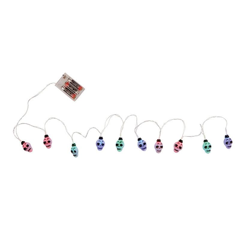 Totenkopf Lichterkette - bunt mit Farbwechsel