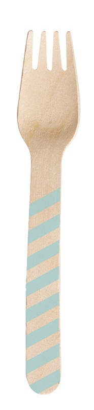 Party-Gabeln aus Holz Streifendekor bleu 10 Stück