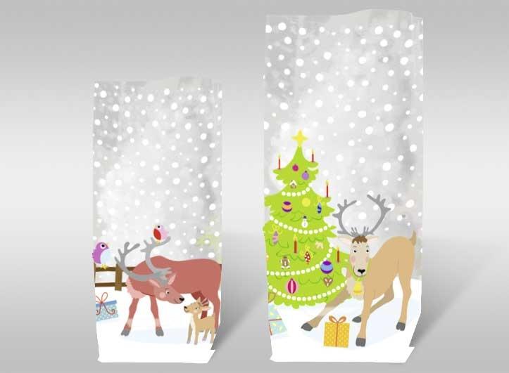 Geschenk-Bodenbeutel Rentiere