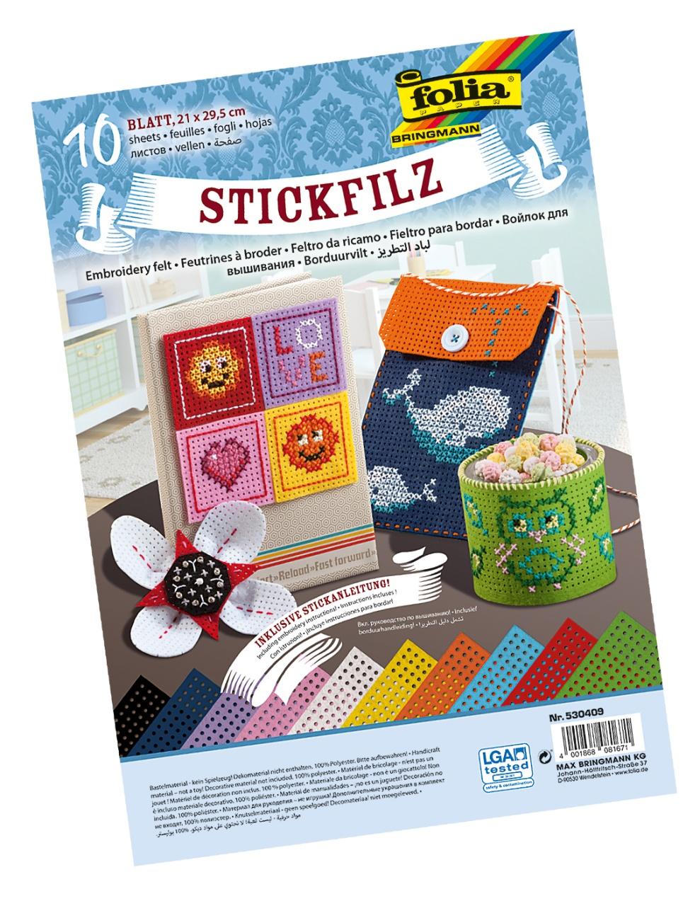Folia Stickfilz 10 Bogen farbig