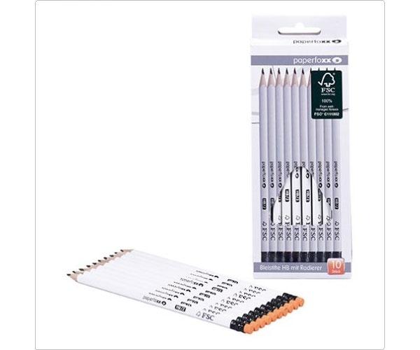 Bleistifte HB mit Radierer 10 Stück-Set