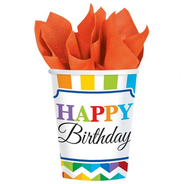 8 Partybecher Bright Birthday Farbenfroher Geburtstag