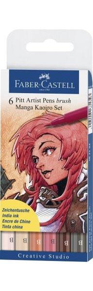 Faber Castell Pitt Zeichentusche Manga Kaoiro 6er Set
