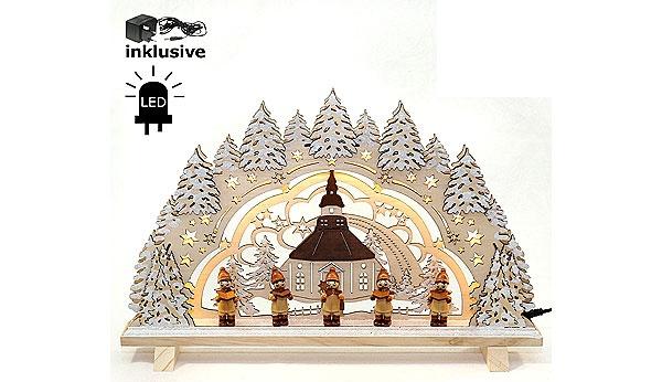 Schwibbogen Seiffen im Schnee mit Kurrendesängern LED 42 cm