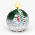 Weihnachtskerze Kugelkerze Schneemann grün