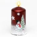 Weihnachtskerze Stumpenkerze Schneemann rot
