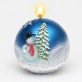 Weihnachtskerze Kugelkerze Schneemann blau