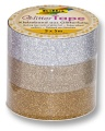 Folia Glitter-Tape 3 Rollen silber/hellgold/gold