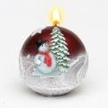 Weihnachtskerze Kugelkerze Schneemann rot