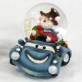 Schneekugel Schneemann im Auto blau