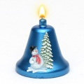 Weihnachtskerze Glockenkerze Schneemann blau