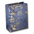 Papiertüte Geschenke blau gold 18x8x23cm