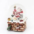 Schneekugel Santa auf Schornstein XL mit Musikwerk
