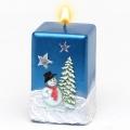 Weihnachtskerze Quadratkerze Schneemann blau