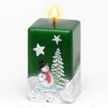 Weihnachtskerze Quadratkerze Schneemann grün